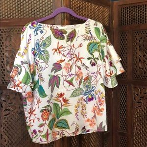 Exotic floral top with ruffle sleeves